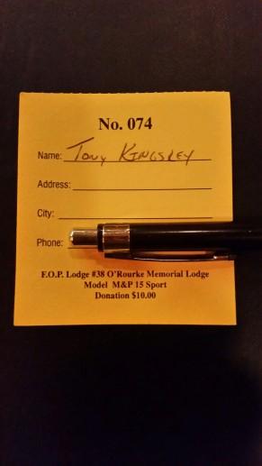 Congratulations to PA FOP Lodge No. 38 Gun Raffle Winner: Tony Kingsley