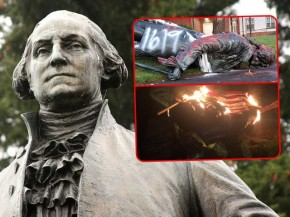 george-washington-statue-portland-defaced-burning-american-flag