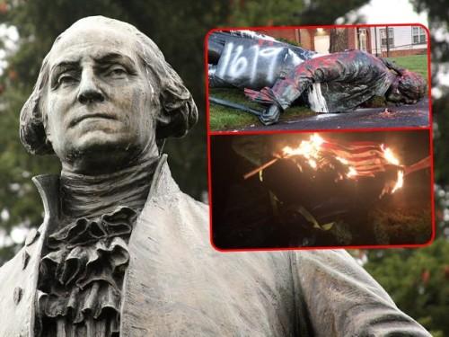 george-washington-statue-portland-defaced-burning-american-flag