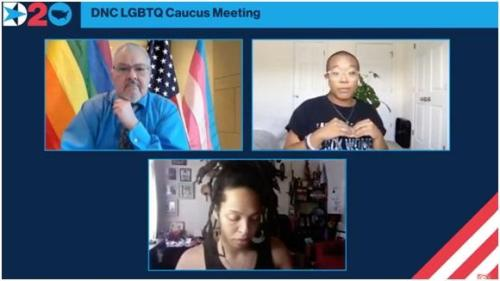 DNC LGBTQ Caucus meeting. Credit Fox News screen shot